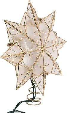Kurt Adler Indoor 10 Light 8-Point Capiz Star Treetop with Arabesque Decoration