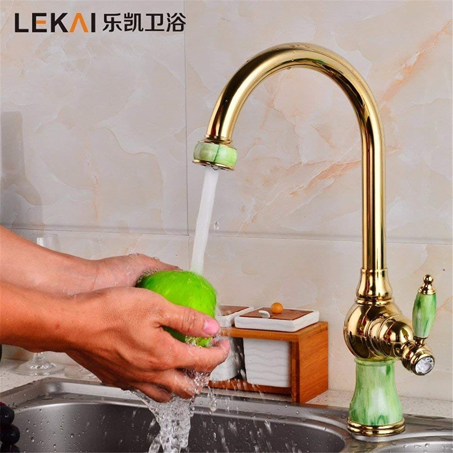 Faucet Simple gold jade stainless steel single hole hot and cold tap greenical basin bathroom kitchen sink (color   -, Size   -)