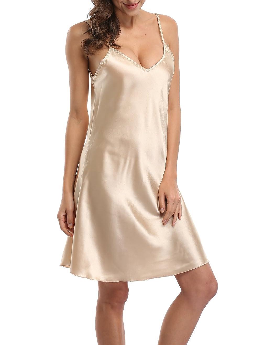 d-to-New Women's Sexy Slip Nightgown Chemises Full Srap Nightdress Summer Dress Satin V-Neck Nightshirts Plus Size ?-
