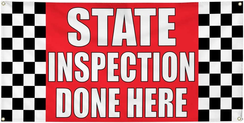 Vinyl Banner Multiple Sizes State Inspection Done Here A Business Outdoor Weatherproof Industrial Yard Signs Red 8 Grommets 48x96Inches