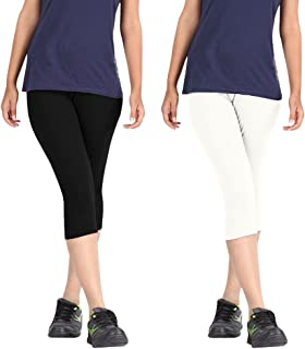 Fablab Women Cotton Lycra Capri, Pack of 2 (Black and White) - Free Size