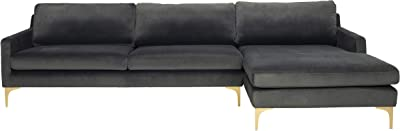 Safavieh Home Collection Brayson Dark Grey Couture Chaise Sofa Sectional