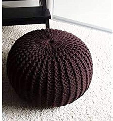 Shanky Textiles Home Pouf Puffy for Living Room Sitting Round Ottoman Bean Filled Stool for Foot Rest Color Coffee Brown Size 12 X 16 in