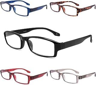 Yuluki Blue Light Blocking Reading Glasses 5 Pack Quality Spring Hinges Eyeglasses UV400 Lens Protection