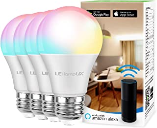 لامپ LED هوشمند ، لامپ LifUX WiFi ، سازگار با الکسا و Google Home ، لامپ تغییر رنگ ، قابل تنظیم با برنامه ، A19 E26 ، معادل 60 وات ، بدون توپی لازم است (بسته 4)