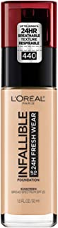 L'Oréal Paris Makeup Infallible up to 24HR Fresh Wear Liquid Longwear Foundation, Lightweight, Breathable, Matte Finish, Medium-Full Coverage, Sweat & Transfer Resistant, Natural Rose, 1 fl. oz.
