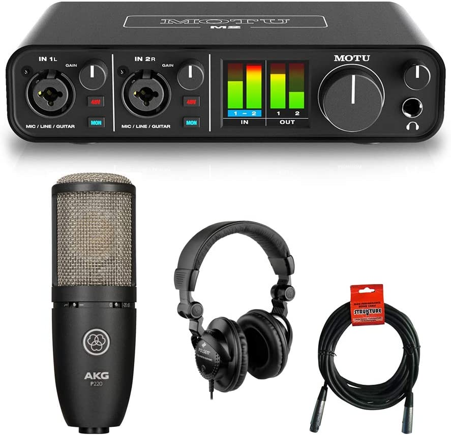 Motu M2 2x2 USB Audio Interface Manufacturer direct delivery AKG with P220 Studio Directly managed store Project Con
