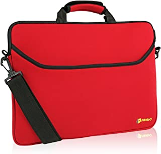 FamGo 15.6 Inch Laptop Case, Laptop Carrying Bag with Shoulder Strap, Water-resistant Neoprene Sleeve, Used for Acer/Asus/Dell/Lenovo/HP - Men, Women & Kids, Business Casual or School (Red)