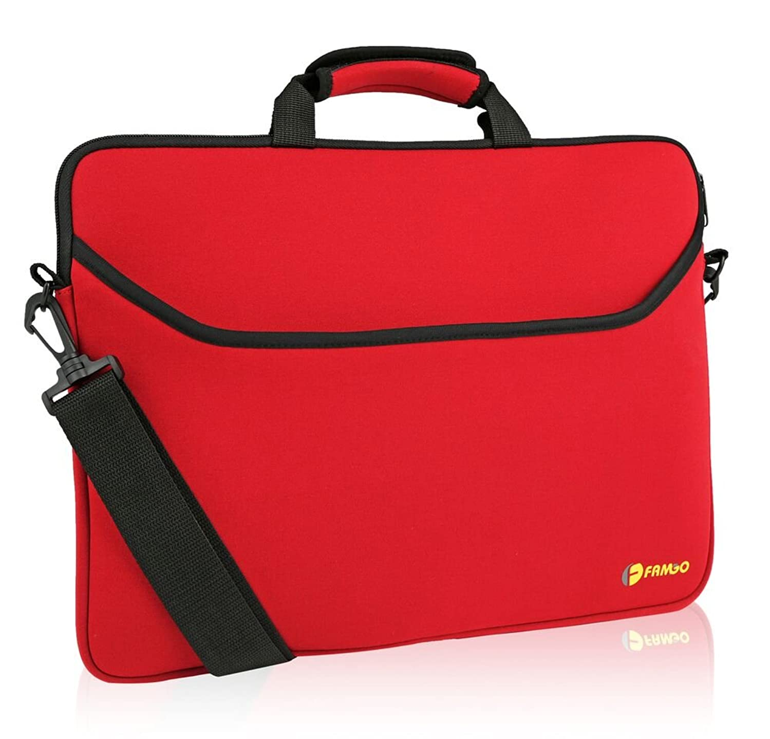 """15.6 inch Water-resistant Neoprene Laptop/Notebook Computer Sleeve Case/for Acer/Asus/Dell/Fujitsu/Lenovo/HP/Samsung/Sony/Toshiba, with convenient """"HANDLE & SHOULDER STRAP"""" for easy carrying (Red)"""