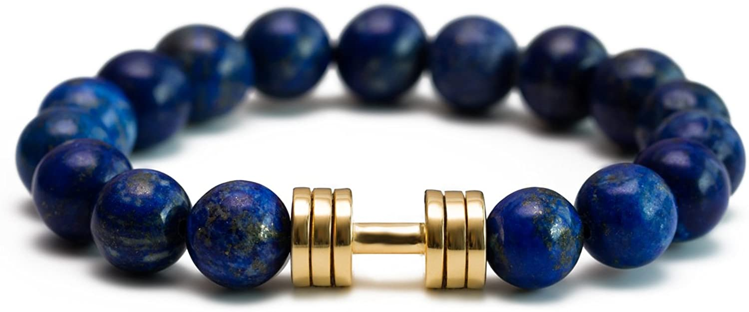 Lapis Lazuli Dumbbell Bracelet Gold B Gym Max 68% OFF Plated Fitness Jewelry Houston Mall