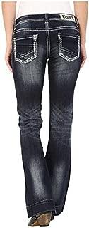 Rock & Roll Cowgirl Women's Dark Vintage Wash Low Rise Trouser Western Jeans