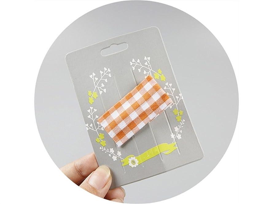 アレイスーツ領収書Osize 美しいスタイル 子供用ヘアアクセサリーチェック柄ファブリック長方形ヘアクリップダックビルクリップ(オレンジ)