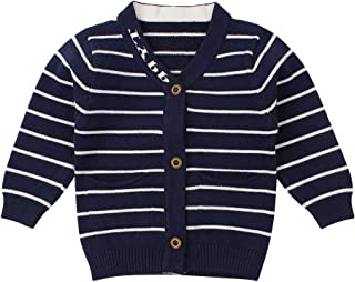 Newborn Boys Sweater Infant Baby Striped Sweatshirt V Collar,Button Up,Cable Knit Cardigan Spring 0-9M