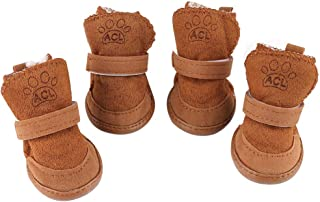 YILEGOU Dog Shoes Puppy Boots Snow Boots with Adjustable Straps Anti-Slip Sole Paw Protectors for Puppy Dog Cat 4 Pack