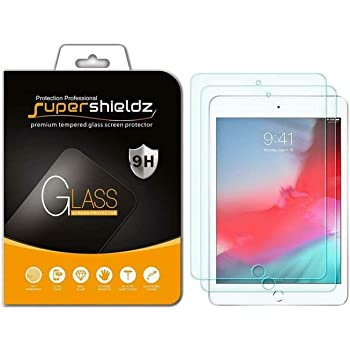(2 Pack) Supershieldz for Apple iPad Mini 5 (2019) and iPad Mini 4 Tempered Glass Screen Protector, Anti Scratch, Bubble Free