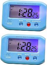 2 pcs Reloj Despertador Eléctrico Portátil con Luz de Noche Accesorios de Viaje Color Azul