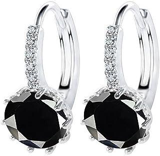 18K White/Rose Gold GP Round Cut Zircon Crystal Hoop Earring Party Dangle Earring Stud