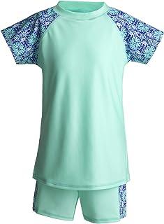 طقم ملابس سباحة للبنات مكون من قطعتين قميص وشورت قصير الأكمام وشورت سباحة للحماية من الشمس +50