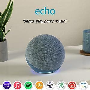 Echo (4th Gen)   With premium sound, smart home hub, and Alexa   Twilight Blue
