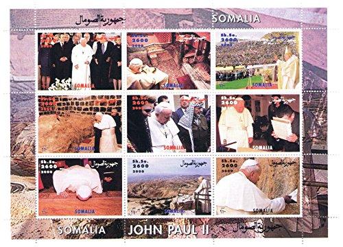 Visita Papa Giovanni Paolo II a partire dal 2000 a Gerusalemme Souvenir Foglio di 9 francobolli perforati - Somalia / 2000/9 valori/MNH