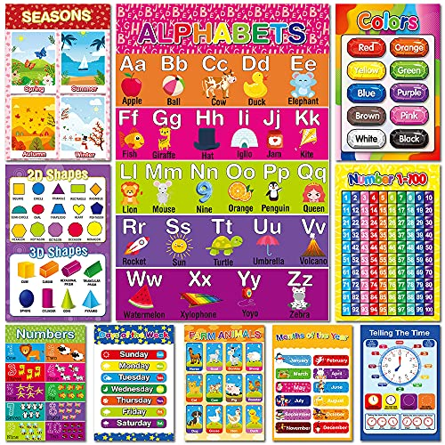 Educational Preschool Learning Poster for Toddler  Pre-K  Kindergarten  Daycares  Classroom  Homeschool Teachers - Incl Alphabet  Colors  Shapes  Numbers  Farm Animals and More - 16 x 11 Inch  10 Pcs