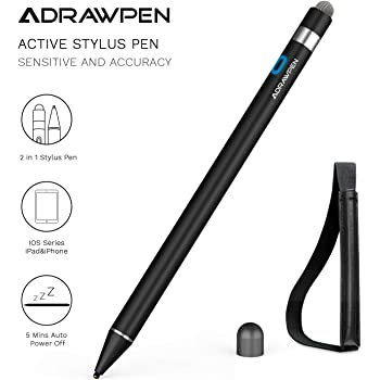Stylus Pen Compatible for Apple iPad, Adrawpen Rechargeable Active Stylus Pen with 2 in 1 Copper & Mesh Fine Tip, 5 Mins Auto Off Smart Pencil Digital Pen for Apple iPad/iPhone/iPad Pro-Black