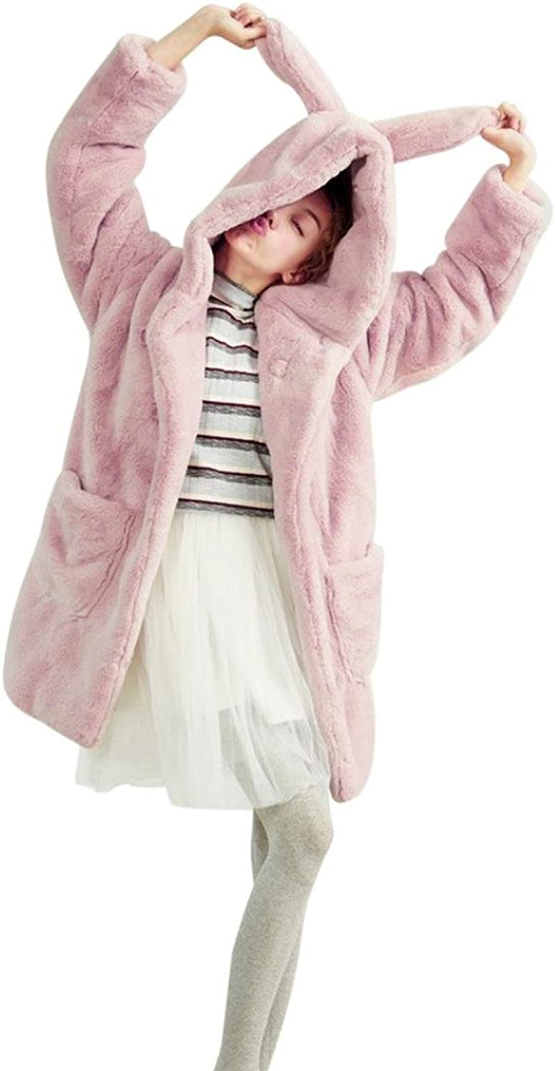 Fullfun Women's Winter Thick Warm Long Faux Fur Coat with Hooded Rabbit Ears