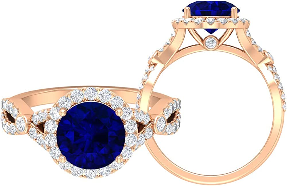 Solitaire Halo Engagement Ring, 2.92 CT Round Gemstones, D-VSSI Moissanite 8 MM Blue Sapphire Lab Created Gold Wedding Ring, Crown Setting Ring, Spiral Shank Ring, 14K Gold