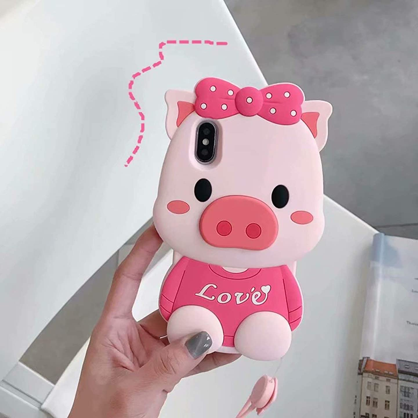 Pink Pig Case for iPhone 7 Plus/ 8 Plus,Anya 3D Cartoon Animal Cute Soft Silicone Rubber Character Design Piglet Cover,Animated Kawaii Fashion Cool Protective Skin Shell for Kids Child Teens Girls