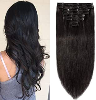 "Clip in Hair Extension Human Hair Black 100% Real Remy Natural Hair 8 Pieces Full Head Straight Standard Weft (#1B Natural Black 18""-100g)"