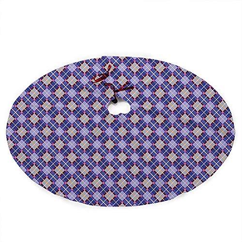 ALLdelete# Christmas Tree Skirt Weihnachtsbaumrock, Rhombischer traditioneller Tartan mit schottischer kultureller Herkunft Retro-Folklore, 91 cm (36 Zoll)