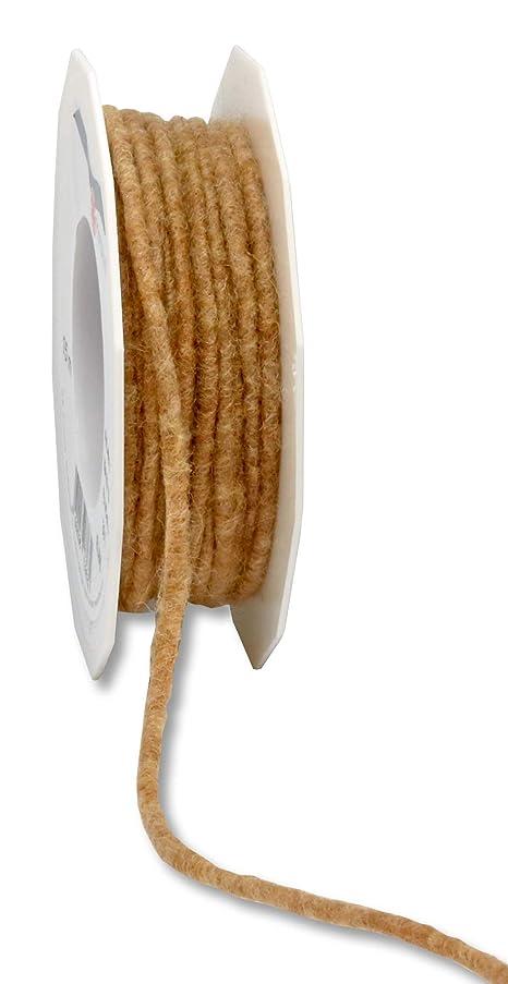 Pr?sent Elbe Felt Cord Ribbon, Nature, 5 mm-15 m