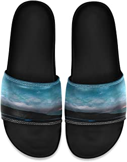 SLHFPX Alaska Starry Night Men's Leather Slide Sandals Summer House Slippers Wide Boys