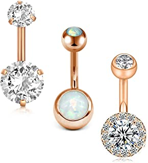 Surgical Stainless Steel Belly Button Rings Short for Women Girls 14G Navel Barbell CZ..
