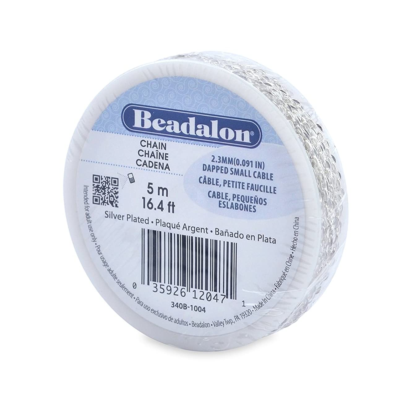 Beadalon 2.3mm Jewelry Making Chain, 5m, Dapped Small Cable, Silver Plated