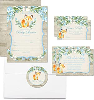 """Deluxe Watercolor Woodland Fox Baby Shower Party Bundle for Boys, Includes 20 Each of 5""""x7"""" Fill in Invitations, Diaper Raffle Tickets, Bring a Book Cards & 2"""" Thank You Favor Stickers w/ Envelopes"""