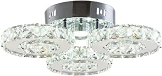 TongLan Modern Crystal Chandelier, 3 Rings LED Big Crystal Chandelier Fixtures Contemporary Stainless Steel Pendant Lights Fixtures for Dining Room Living Room (Cool White)