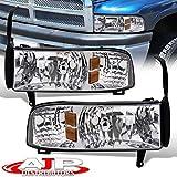 AJP Distributors Headlights Lights Lamps For Dodge Ram 1500 2500 3500 1994 1995 1996 1997 1998 1999 2000 2001 2002 94 95 96 97 98 99 00 01 02 (Chrome Housing Clear Lens Amber Reflector)