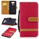 ZIBF030884 - Custodia a portafoglio in pelle PU per LG G6 / LG G6+ (G6 Plus), con supporto per carte di credito, custodia sottile con slot per schede per LG G6 / LG G6+, colore: Rosso