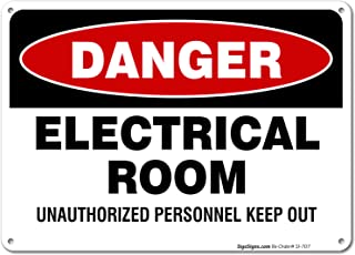 Electrical Room Sign, 10x7 Rust Free Aluminum, UV Printed, Easy to Mount Weather Resistant Long Lasting Ink Made in USA by SIGO SIGNS