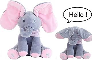OMGOD Plush Toy peek-a-Boo Elephant, Hide-and-Seek Game Baby Animated Plush Elephant Doll Present - Pink