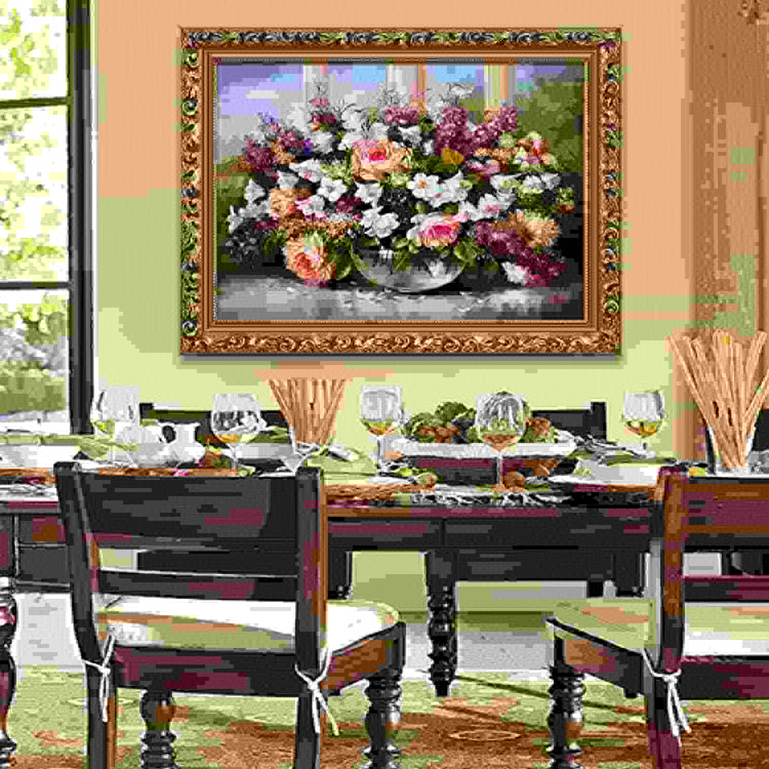 Descuento del 70% barato LLZZSX Material package Non-finished product Diamond Painting Painting Painting Full Drill Restaurant Flower Diamond Embroidery Vase Cross Stitch Bedroom Hanger Birthday Gift Valentine'S Day,70X50Cm  entrega rápida