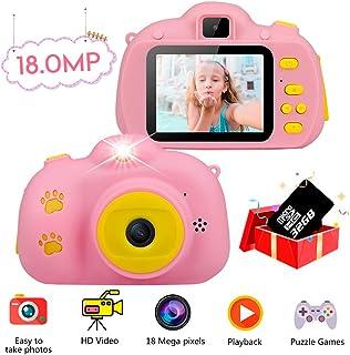 Haisito Cámara Fotos para Niños  18MP HD Mini Cámaras Digital Recargables para Infantil con Selfie Video Juego Cámara Juguetes Regalo para Niños de 5-12 Años (32GB TF Tarjeta Incluida)(Rosado)