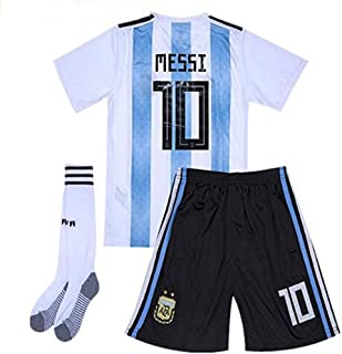 Speed Johng 2018 World Cup Argentina Team Home #10 Messi Kids/Youth Soccer Jersey & Shorts & Socks White/Blue (6-13years)