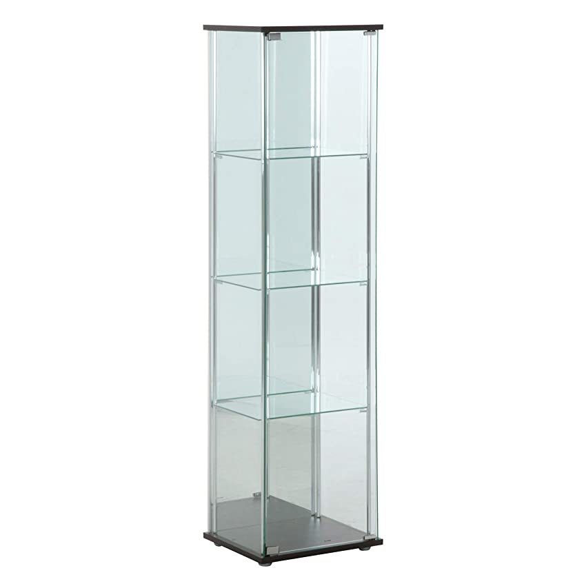 くるくる貢献する威信不二貿易(Fujiboeki) ガラスコレクションケース ブラウン 高さ160cm 4段 背面ミラー付き 【2梱包】 96046