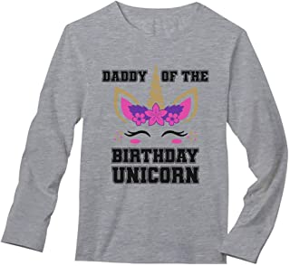 Daddy of The Birthday Unicorn Party Matching Family Dad Long Sleeve T-Shirt