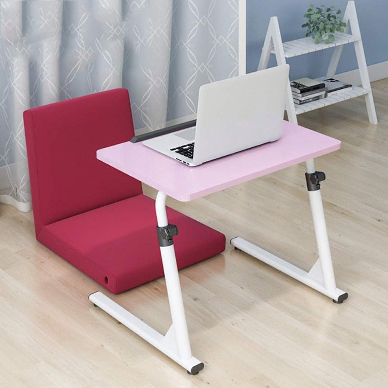 Bedside Computer Desk, Lazy Table Foldable Desk Game Table Portable Table (color   Pink, Size   60  40  43-63cm)