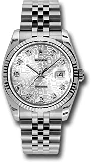 Rolex Oyster Perpetual Datejust 36mm Stainless Steel Case, 18K White Gold Fluted Bezel, Silver Jubilee Dial, Diamond hour Markers, and Jubilee Bracelet.