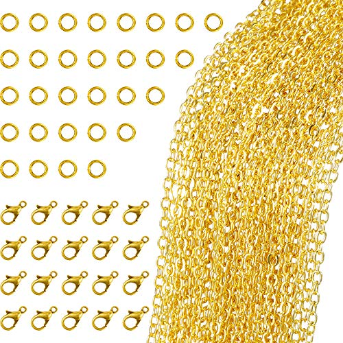 33 Fuß Gold Überzogene Gliederkette Halskette mit 30 Jump Rings und 20 Karabiner für Schmuck DIY Herstellung (1,5 mm)