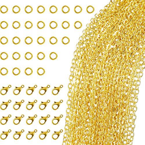 33 Piedi Collana con Catena a Maglia Placcata Oro con 30 Anelli di Salto e 20 Chiusure di Aragosta per Creazione di Gioielli Fai-Da-Te (1.5 mm)